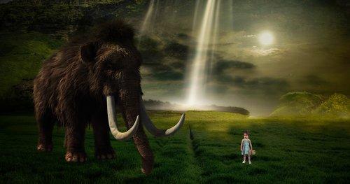 fantazija, mamutas, vaikas, pobūdį, susidurti, svajonių pasaulis, fantazija vaizdas, kraštovaizdis, atmosferos