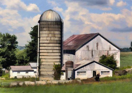 tvartas, kraštovaizdis, ūkis, kaimas, kaimiškas, senas & nbsp, ūkis, skaitmeninis & nbsp, menas, meno kūriniai, dažymas, menas, ūkis
