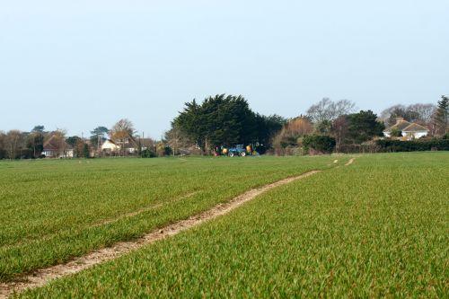 žemės ūkio paskirties žemė, ūkis, laukas, ūkininkavimas, žalias, traktorius, pasėliai, pasėlių & nbsp, purškimas, kaimas, kaimas, mėlynas, dangus, Laisvas, viešasis & nbsp, domenas, žemės ūkio paskirties žemė