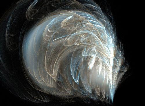 fraktalas, plunksninė, mėlynas, smėlio spalvos, grietinėlė, plunksninis fraktalas