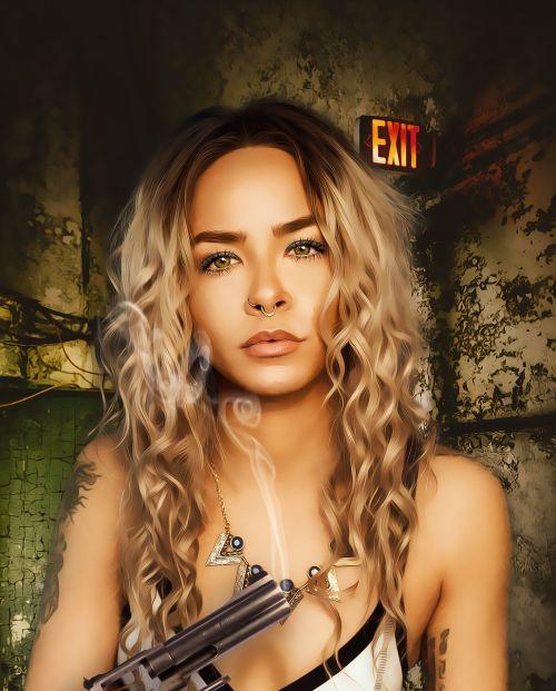 Moteris,moteris,kieta moteris,portretas,jaunas,modelis,grožis,pistoletas,dūmai,fantazijos moteris,veiksmo pobūdis,rašoma moteris,tatuiruotas moteris,tatuiruotės