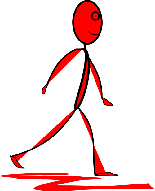 figūra,vyras,Stick,juosta,raudona,vaikščioti,vaikščioti,žmogus,šypsena,laimingas,pratimas,žingsnis,nemokama vektorinė grafika