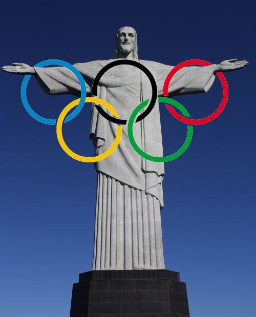 kristo figūra,olimpiniai žiedai,Rio de Žaneiras,Brazilija,olimpinės žaidynės,2016,Sportas,varzybos,nugalėtojas,medaliai,padėtas,jaunimas,žiūrovai,gerbėjai,Draugystė,sporto jaunimas