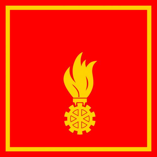 Ugnis,variklis,cog,vėliava,raudona,geltona,nemokama vektorinė grafika