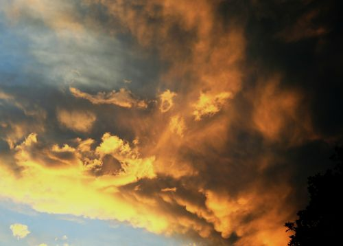 debesys, Ugnis, ugnis, geltona, oranžinė, auksas, saulėlydis, liepsna & nbsp, formos, žėrintis, sūkuriai, šviesa, šešėlis, dangus, ugnis danguje
