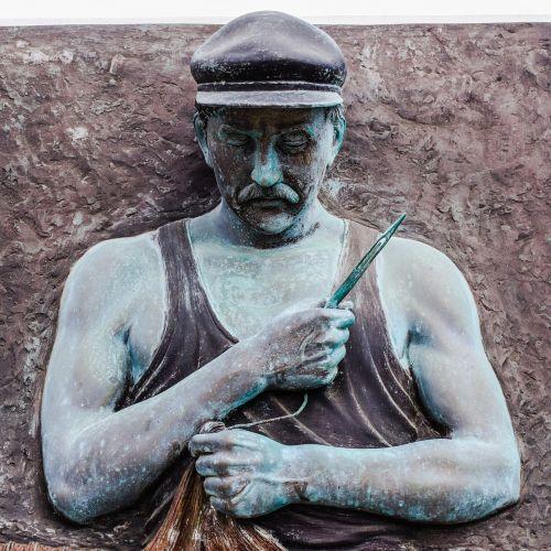 žvejys,remontas,tinklai,tradicija,skulptūra,tradicinis,remontas,ayia napa,Kipras