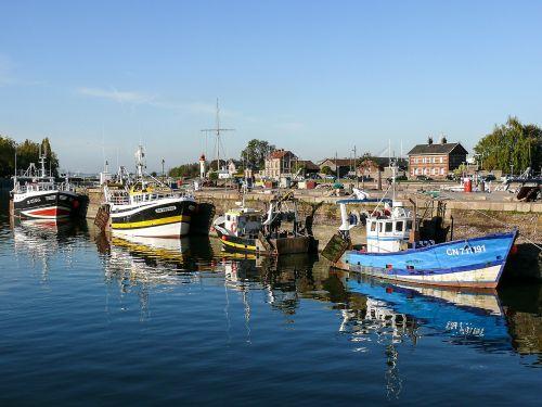 žvejyba, traleris, valtis, jūra, krevetės, vanduo, pusė, atspindys, france, uostas, marin, mėlynas, mėlynas vanduo, honfleur, amatų, pakrantės, prieplauka, mėlynas dangus, geltona, be honoraro mokesčio
