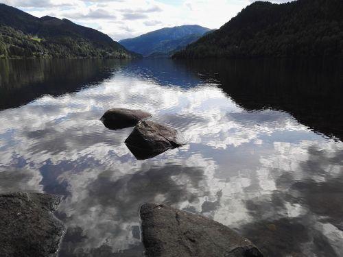 fjordas,ežeras,vanduo,kalnas,Norvegija,Hardanger,debesys,kraštovaizdis