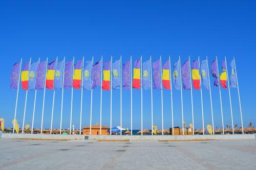 vėliava,vėliavos,euras,Europa,romanija,konstanta,pajūryje,ekskursijos,turizmas,neptūnas