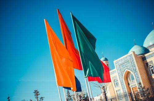 vėliavos,kelių spalvų vėliavos,žalia vėliava,raudona vėliava,mėlyna vėliava,oranžinė vėliava,geltona vėliava,miestas,vasara,geliu lova,gamta