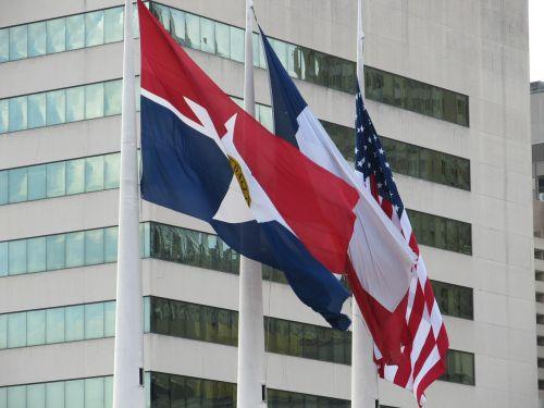 vėliavos,plaukiojantys,Dallas,miesto rotušė,Amerikos vėliava,Teksaso valstybės vėliava,Dalaso miesto vėliava,usa flag,patriotinis,texas,miestas,miesto