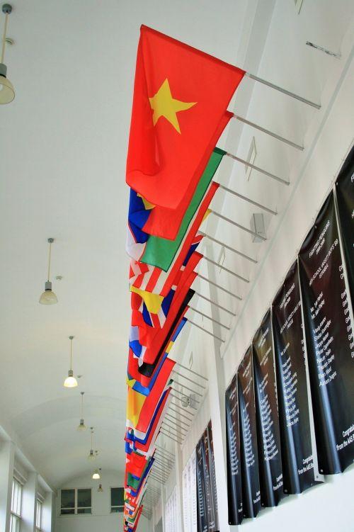 siena, vėliavos, tautos, šalyse, spalvinga, tautų vėliavos