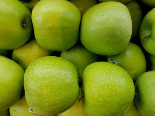 plokšti & nbsp, nustatyti, žalia & nbsp, obuoliai, laikyti, pagaminti, švieži & nbsp, vaisiai, obuolys, žalias, modelis, pakartoti, kartojasi, turgus, prekyvietė, gaminti & nbsp, rinką, plokšti obuoliai