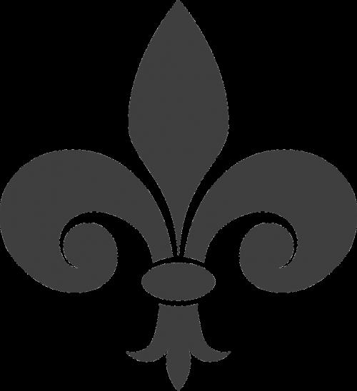 Fleur-De-Lis, Heraldika, Pilka, Simbolis, Tvora, Nemokama Vektorinė Grafika