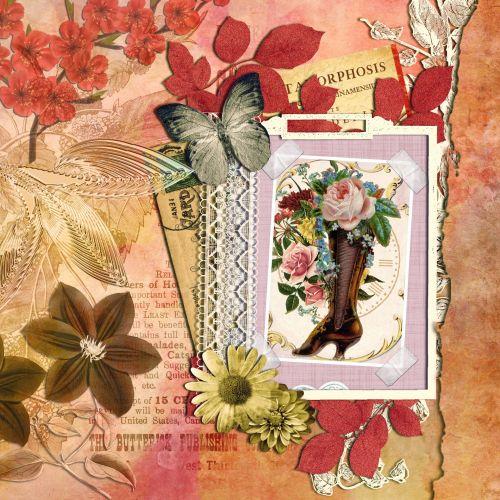 gėlių, gėlės, drugelis, boot, avalynė, vintage, senas, Scrapbooking, puslapis, scrapbooking & nbsp, puslapis, menas, iliustracija, kortelė & nbsp, Laisvas, viešasis & nbsp, domenas, gėlių fonas scrapbooking puslapis