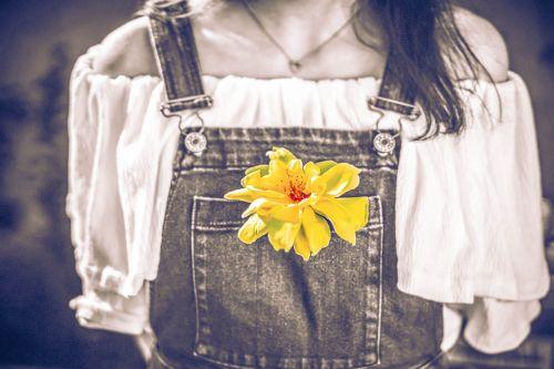 gėlė,geltona,šalies mergaitė,išblukęs džinsinis audinys,juoda ir balta,spalva pop