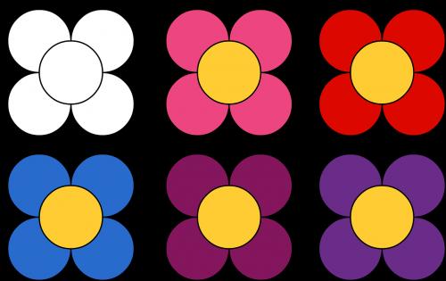 gėlės,rožinė gėlė,raudona gėlė,purpurinė gėlė,alyvinė gėlė,mėlyna gėlė,gėlių dažymo puslapiai,iliustracija
