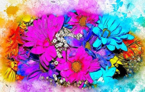 gėlės, puokštė, Vestuvės, menas, akvarelė, pobūdį, Vintage, Anotacija, meninis, dizainas, Aquarelle, dažų Šļakstēties, skaitmeninis menas, skaitmeninis dažai, piešimo, Nemokama iliustracijos