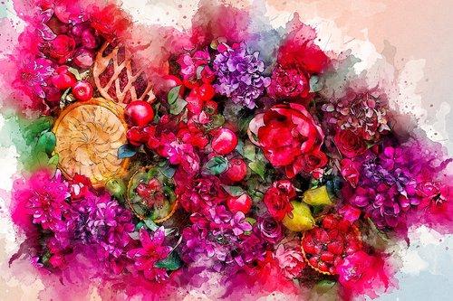 gėlės, puokštė, menas, akvarelė, pobūdį, Vintage, spalvinga, meninis, dizainas, Aquarelle, dažų Šļakstēties, skaitmeninis menas, skaitmeninis dažai, piešimo, Nemokama iliustracijos