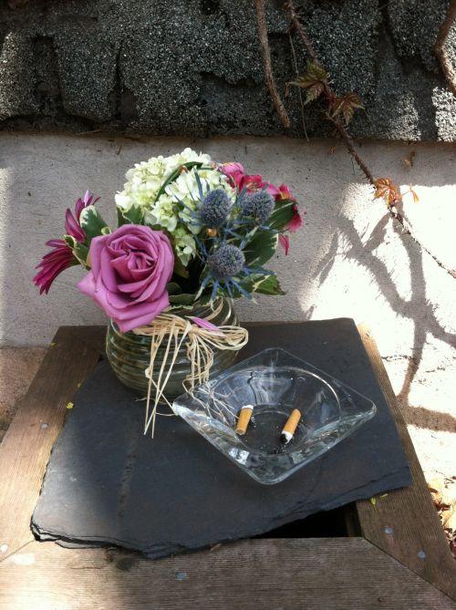gėlės, peleninė, gėlės & nbsp, peleninė, cigarečių & nbsp, sėdynės, vazos, gėlės iš peleninės - lauke