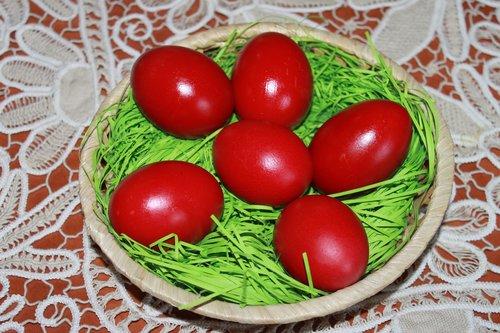 maisto, Velykų, kiaušinis, tradicinis, raudona, lentelėje, krepšys