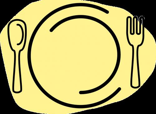 maistas,maistas,valgymas,patiekalai,plokštė,restoranas,šakutė,šaukštas,nemokama vektorinė grafika