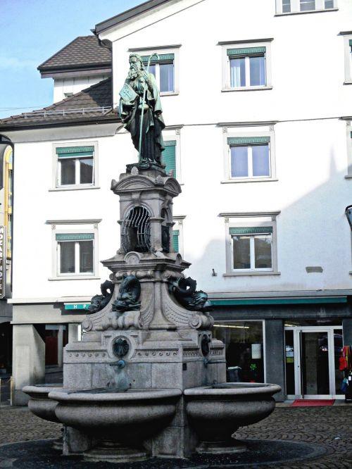 fontanas,Jakobas,skulptūra,Miesto centras,Rorschach,Šveicarija