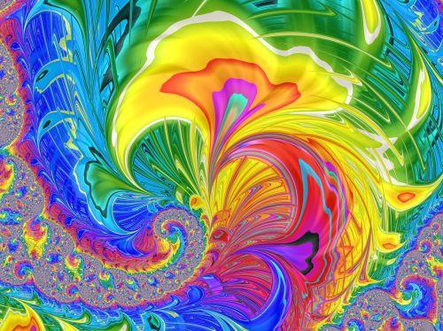 fraktalas,šviesus,sprogus,nuostabus,mandelbrot,žėrintis,kompiuteriu sukurtas,drąsus,simetrija,vaivorykštė,sūkurys,bangos,dryželiai,padengti