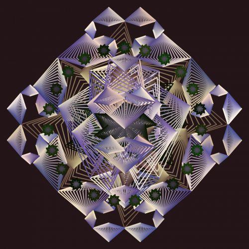 fraktalas, violetinė, blizgantis, stiklas, deimantas, juoda, fonas, simetriškas, figūra, piešimas, linijos, poveikis, atsitiktinai, fraktalinis deimantas