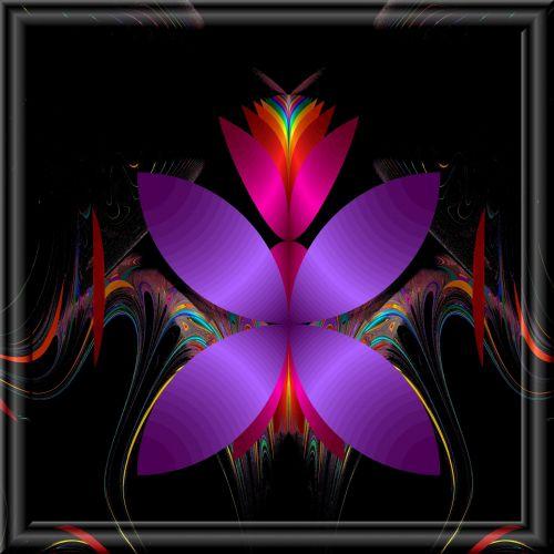 fraktalas, spalva, violetinė, žiedlapiai, 3d, stiklas, rėmas, fraktaliniai žiedlapiai