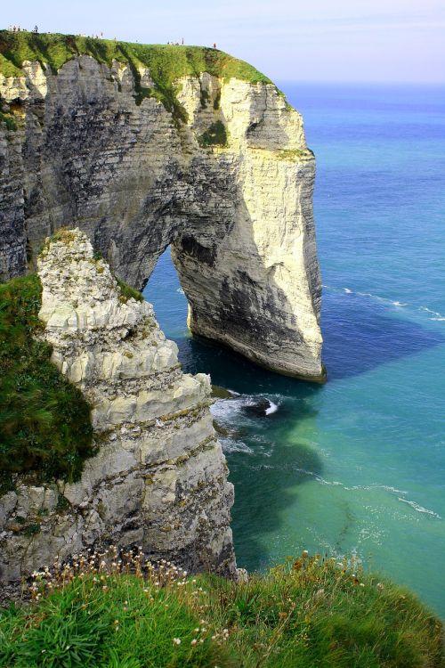 france,Normandija,kranto,uolos,uolos,jūra,balti uolos,kietas,kalkakmenis,vanduo,атлантический,Rokas