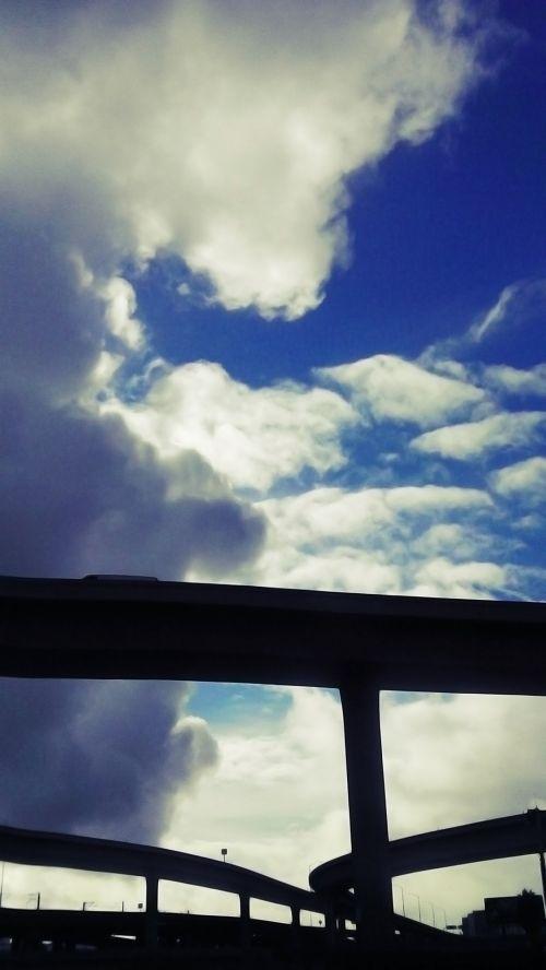 greitkelis, greitkelis, perduoti, dangus, debesys, fonas, greitkelio vagonas