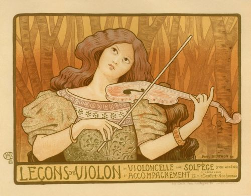 Prancūzų kalba, vintage, Lady, mediena, smuikas, spektaklis, muzika, plakatas, reklama, belle & nbsp, Époqueart, menas & nbsp, deko, art nouveau, nouveau, skelbimai, produktas, juokinga, piešimas, iliustracija, moteris, france, paris, Europa, europietis, prancūzų plakato smuiko spektaklis
