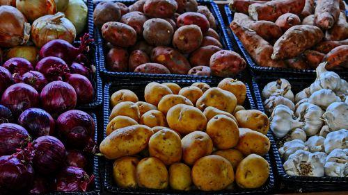 daržovių, daržovės, maistas, bulvės, svogūnai, česnakai, yams, saldus & nbsp, bulvių, ūkis, derlius, parduoti šviežios daržovės