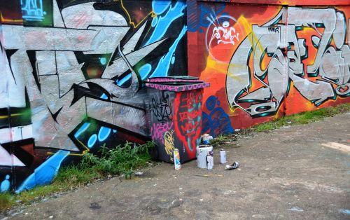 freska, šiukšlių dėžė, dažyti, dekoracijos, meno, miesto, siena, miestas, spalvos, žymes, gatvė & nbsp, menas, dažyti & nbsp, bombas, freska