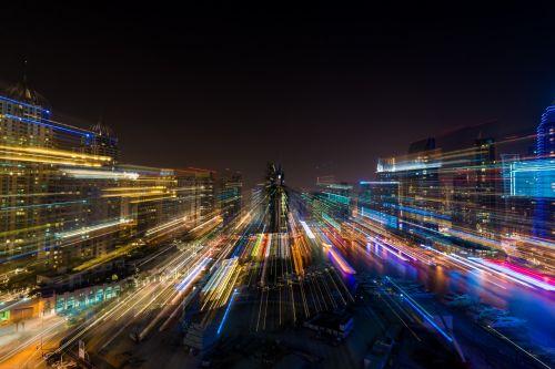 naktis, sušaldyta, laikas, miesto panorama, dubai, dubai & nbsp, marina, emiratai, abstraktus, šviesa, žibintai, neryškus, fonas, gražus, ilga & nbsp, ekspozicija, poveikis, nuotrauka, dangoraižis, aukštas, aukštas, pastatai, sušaldyta laiku