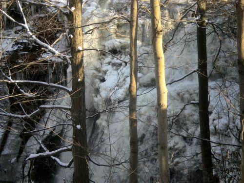 Užšalęs & Nbsp,  Krioklys,  Krioklys,  Ledas,  Sniegas,  Šaltas,  Sušaldyta,  Žiema,  Užšalęs Krioklys Per Medžius