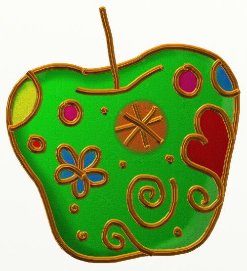 vaisiai,maistas,obuolys,žalias,sveikas,šviežias,šviežias vaisius,šviežias maistas,formos,doodle,meno