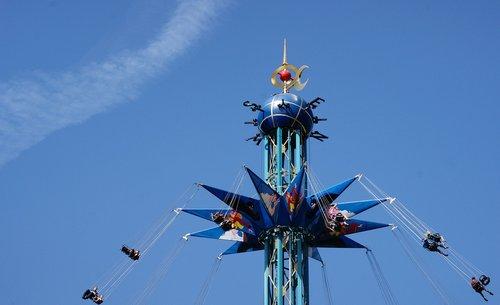 Pramogų reikmenys, festivalis, tema, vakarėlis, spalvos, karuselė, vasara, valstybinė šventė, Švęsti, pramogų, linksma, atmosfera, Laisvalaikis, malonus, atrakcija, poilsio, mėlyna, žaisti, metalo, dovana, aukštas