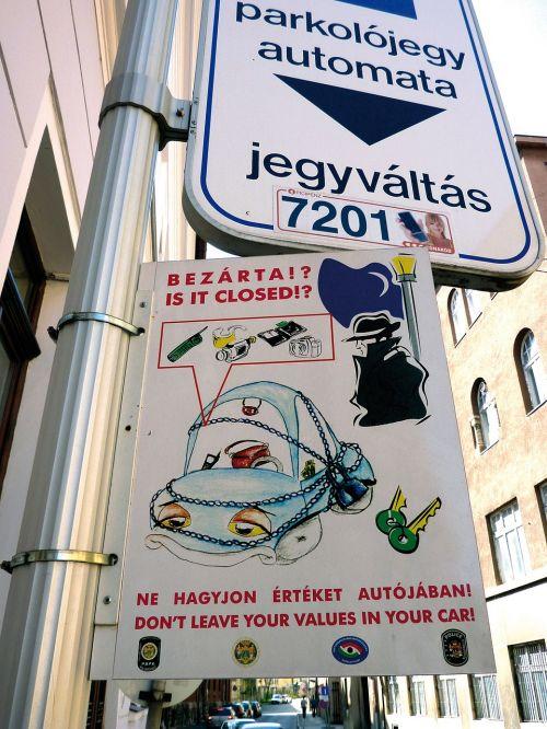 juokingi ženklai,parkas,pastaba,vengrija,pécs,informacijos lentos,skydas,automobilių stovėjimo aikštelė