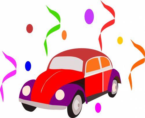 automobilis, Volkswagen & Nbsp, vabalas, spalvos, karnavalas, vabalas