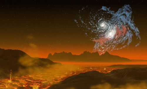 galaktika,galaktikos susitrenkia,lava,kraštovaizdis,kalnai,spiralinė ūkas,paukščių takas,žvaigždė,Žvaigždėtas dangus,dangaus kūnai,dangaus kūnas,erdvė,visata,astronomija,kosmoso menas,mokslinė fantastika,tyrimai,tvirtas,tvirtas,schroff,tvirtas,kontrastas,išsiveržimas,švytėjimas,virti,šiluma,karštas,angelai,dūmai,debesys,rausvai,raudona,twilight,raudoni atspalviai,menotyros voyager,3d