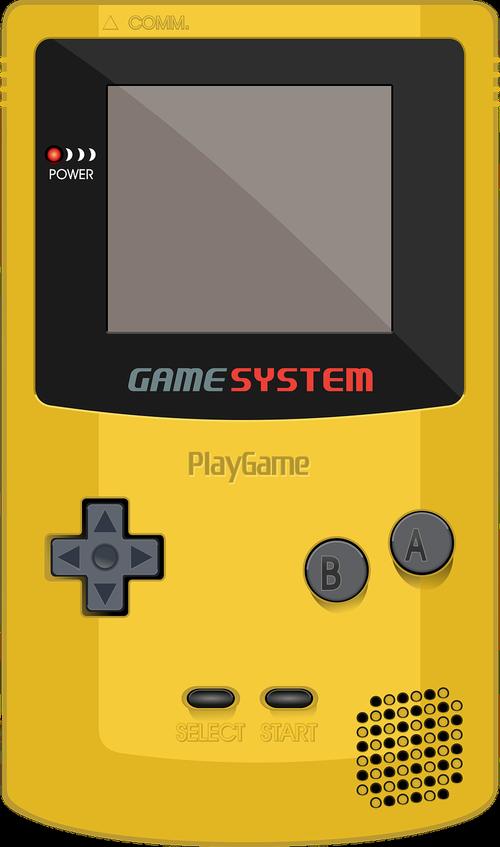 Gameboy, video žaidimas, Nintendo, Retro, vaizdo žaidimų sistema, Nešiojami, žaislas, elektroninis, skaitmeninis žaidimas, Gamer, geltona, technologijos, pramogų, žaisti, prietaisas, ekranas, kontrolės, mygtuką, GAMEPAD, TV, piktogramą, realus, konsolė, Nemokama vektorinė grafika, Nemokama iliustracijos