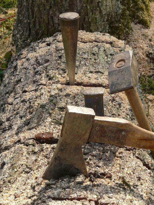 spraga miršta,plaktukas,kirvis,pleištas,metalinis pleištas,metalas,mediena,malkos,padalinti,medžio dirbiniai,medis,mediena,medienos ruoša,augimo atsargos,aštrus,rizika,pavojingas,sužalojimo rizika
