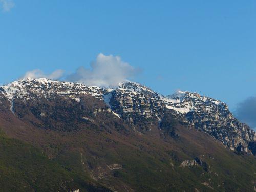 Garda Kalnai, Kalnai, Monte Baldo, Monte Bal, Monte Baldo Tvirtas, Aukštas Kalnas, Monte Altissimo Modenoje, Garda, Summit, Snowy