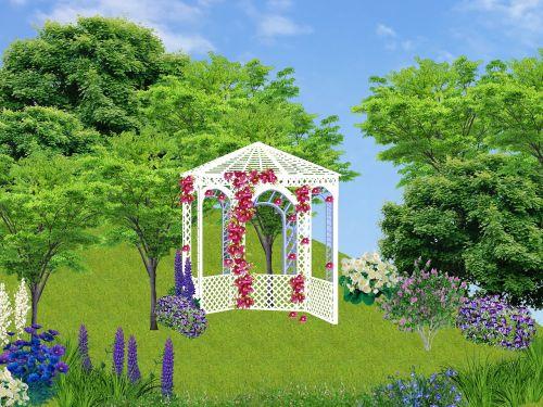 sodas,pavėsinė,medžiai,gėlės,gamta,baltos gėlės,purpurinės gėlės,violetinė,vasaros gėlės,geliu lova,spalva,Bugenvilisas,augalai