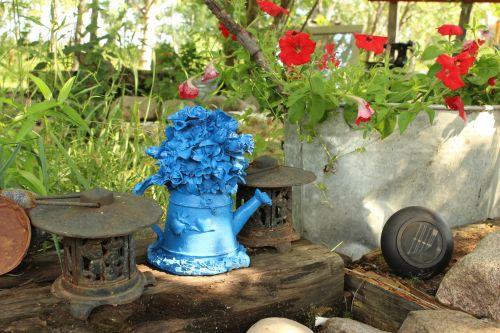 sodas, papuošalai, mėlynas, virdulys, sodo papuošalai mėlyna virdulys