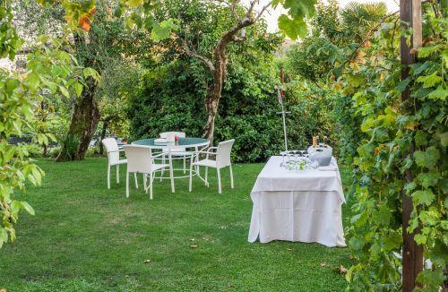 Sodo vakarėlis,stalai,gamta,šampanas,vakarėlis,sodas,vasara,maistas,iškylai,lauko vakarėlis,vakarienė,vynas