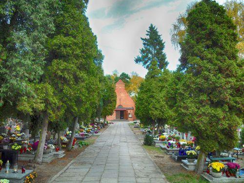 Gdanskas,Lenkija,kapinės,kapai,gėlės,hdr,medžiai,žiaurus,lauke