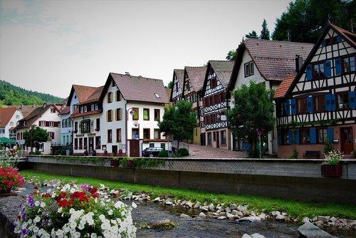 Vokietijos namų, Vokietija, Viduramžiai, Viduramžių namai, germanica, seni namai, tradicija, durų, įėjimas, namai, mediena, sijos